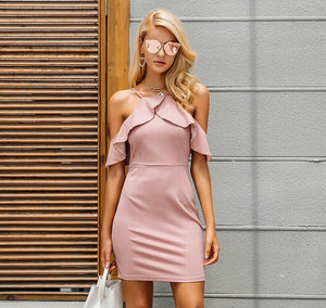 Sexy Sling Solid Color Hip Dress