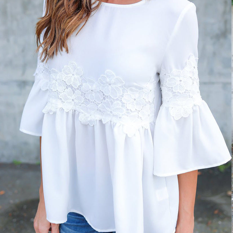 Round Neck White Stitching Lace Top