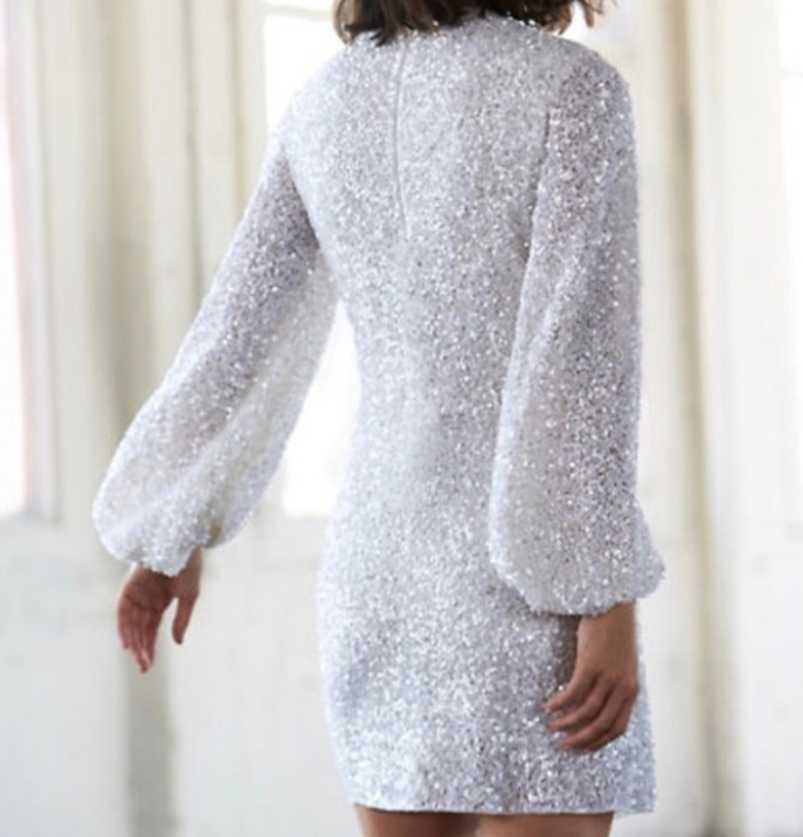 Casual Sequin Long Sleeve White Dress