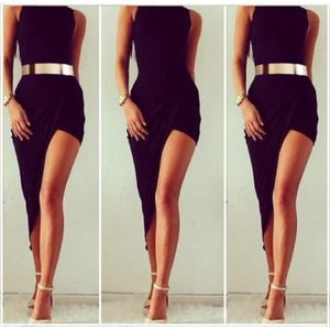 Sleeveless Black Asymmetrical Hem Sexy Dress