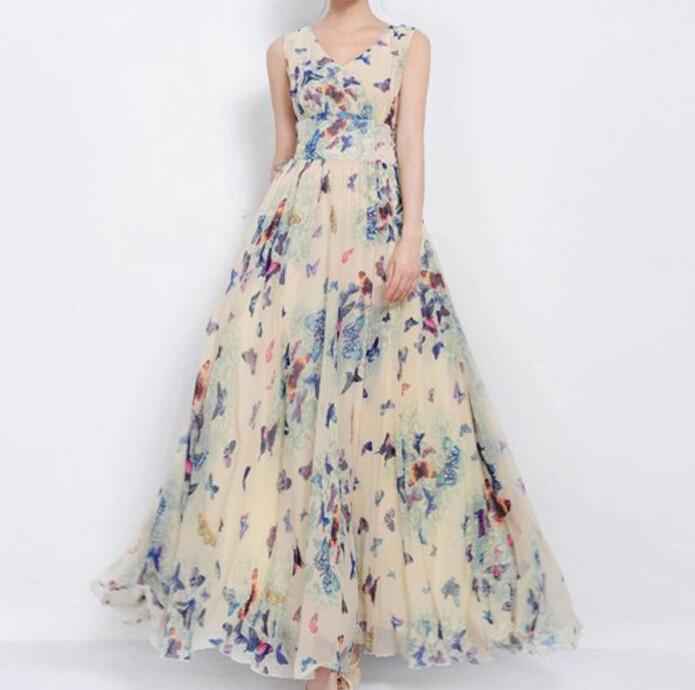 Print Pattern Chiffon Long Maxi Dress Beach Dress