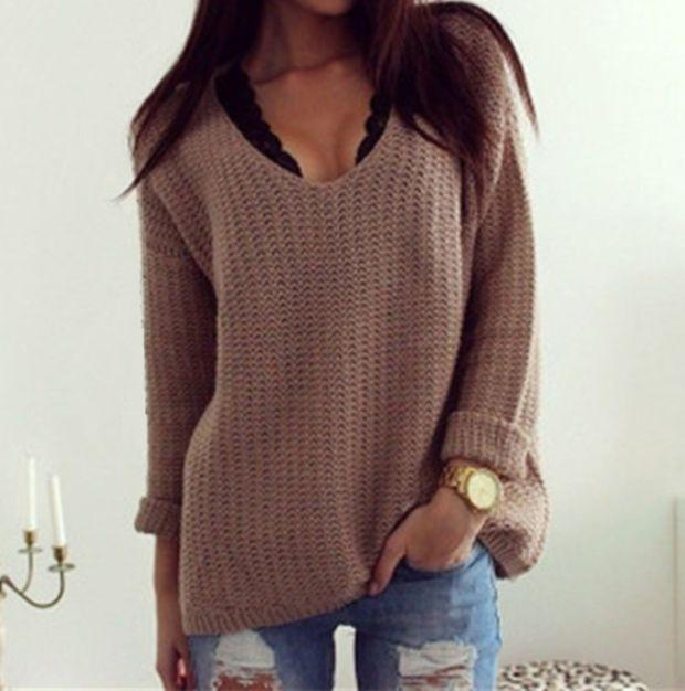 Brown Loose Long Sleeve V Neck Pullover Sweater