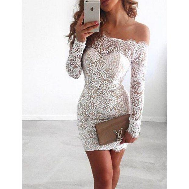 Off Shoulder Long Sleeve Lace Tight Homecoming Dresses