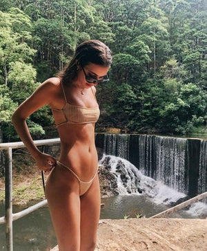 Sexy Women Stylish White Yellow Vertical Stripe Backless Two Piece Bikini Swimsuit Swimwear