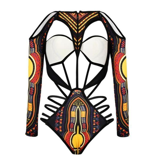 Fashion Digital Print Hollow Long Sleeve One Piece Bikini Swimsuit Bathing