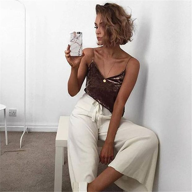 Pure Color V-neck Suede Sleeveless Vest