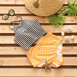 KayVis Sexy Bikini Stripe Halter Women Swimsuit Bandage Swimwear Print Cross Bikini Set High Waist Bathing Suit Swim Wear