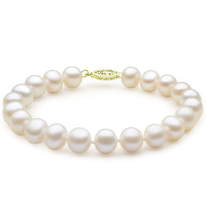MABELLA 14K Solid Yellow Gold Freshwater Cultured 7.0-7.5mm White Pearl Strand Bracelet-7.5