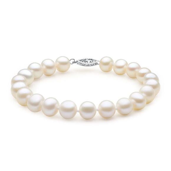 MABELLA 14K Solid White Gold Freshwater Cultured 8.0-8.5mm White Pearl Strand Bracelet-7.5inch