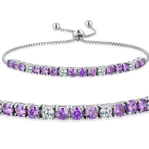 MABELLA 925 Sterling Silver Adjustable Tennis Bracelet Purple/Amethyst & White CZ Jewelry Gifts for Women