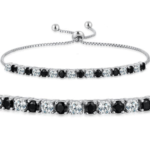 MABELLA 925 Sterling Silver Adjustable Tennis Bracelet Black & White CZ Jewelry Gifts for Women