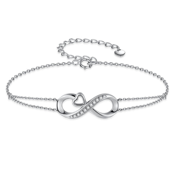 MABELLA Infinity Heart Adjustable Bracelet Double Chain,925 Sterling Silver Endless Love Jewelry Valentines's Day Gifts for Women