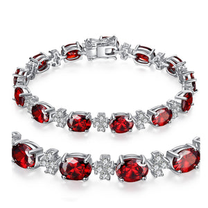 MABELLA Vintage Sparkly CZ Garnet 925 Sterling Silver Tennis Bracelet Christmas Gifts for Women