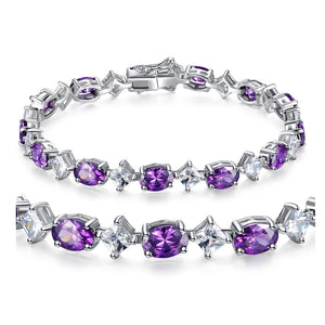 MABELLA Sterling Silver Cubic Zirconia Amethyst Tennis Bracelets Girls Christmas Gifts for Women