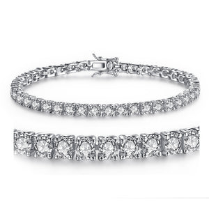 MABELLA White Round Cubic Zirconia Tennis Bracelets 7/7.5 Inches Silver Christmas Gifts for Girls