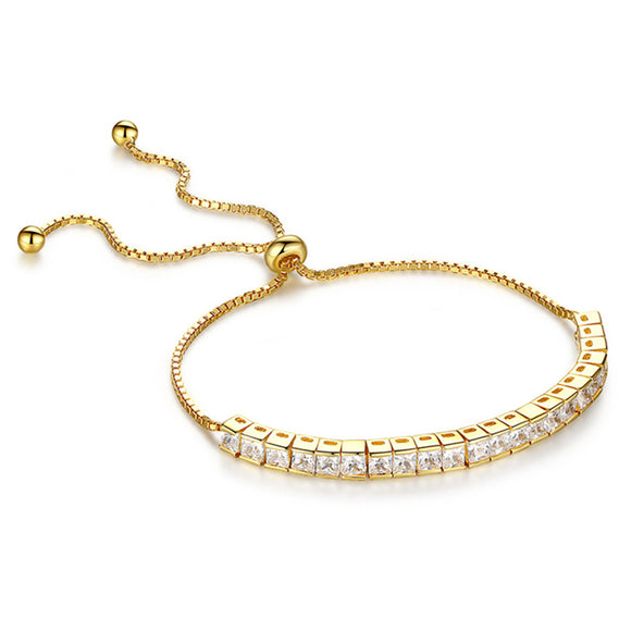 MABELLA 925 Sterling Silver Gold Tone Princess Shape Cubic Zirconia Adjustable Bracelet for Women