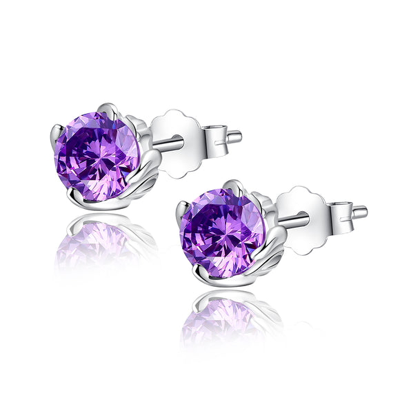 MABELLA Sterling Silver 1.0 cttw Round Shaped Created Gemstone Stud Earrings