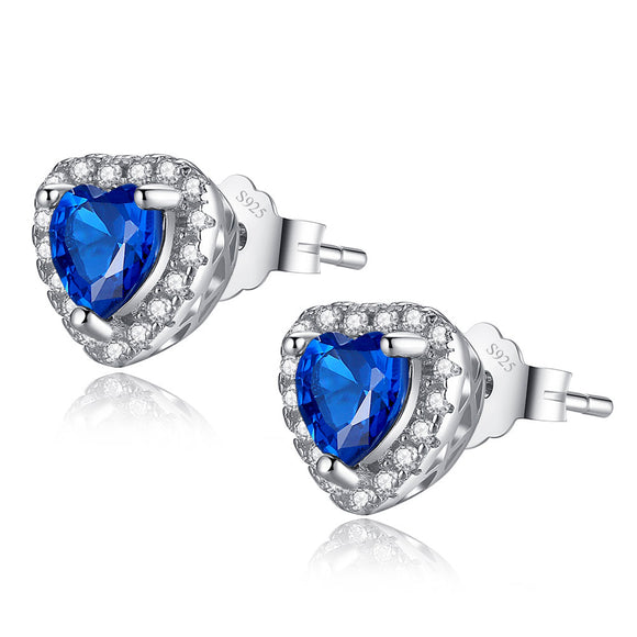 MABELLA Sterling Silver 1.0 cttw Gemstone Heart Shaped Stud Earrings