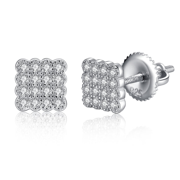 MABELLA Sterling Silver Micro Pave Cubic Zirconia Square Stud Earrings
