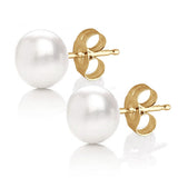 MABELLA Natures Freshwater Cultured Pearl Button Stud Yellow Gold Plated Silver Earrings for Women
