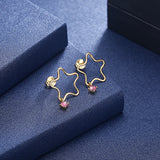 MABELLA 925 Sterling Silver Gold Plated Geometric Stud Earrings Swarovski Crystals, Gifts for Women