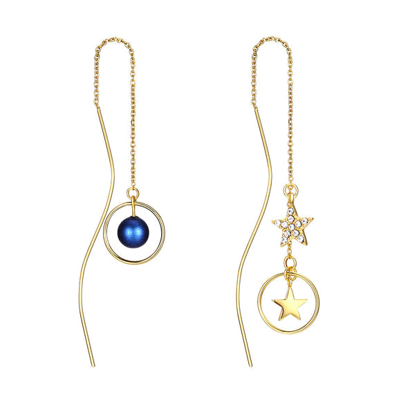 MABELLA 18K Real Gold Plated 925 Sterling Silver Star Threader Dangle Swarovski Crystals Earrings