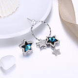MABELLA Sterling Silver Stars Drop Stud Earrings with Crystals Pearl from Swarovski,Gifts for Women