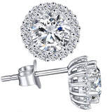 MABELLA Sterling Silver Cz Halo Stud Earrings Round Cubic Zirconia Gifts for Womens Sensitive Ears