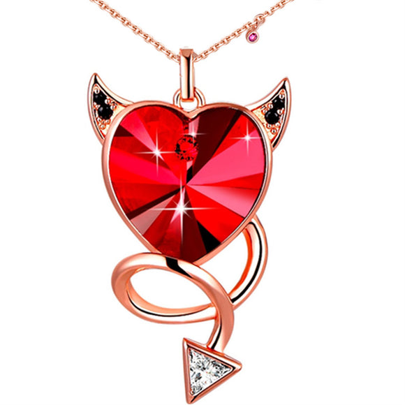MABELLA Red Heart Pendant Necklace Embellished with Crystals from Swarovski, Gifts for Women