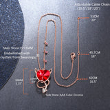 MABELLA Red Evil Heart Pendant Necklace Embellished with Crystals from Swarovski, Gifts for Women