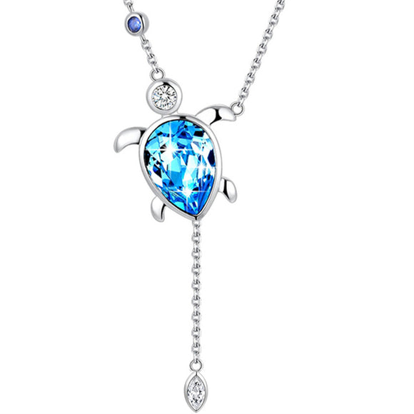MABELLA Blue Sea Turtle Pendant Necklace Embellished with Crystals Swarovski,Gifts for Women