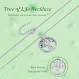 MABELLA Green Crystals Tree of Life Necklace,Simulated Emerald Pendant Christmas Gifts for Women Mom