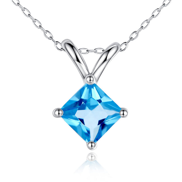 MABELLA 14K Solid White Gold Princess Cut 5MM Natural Genuine Blue Topaz/Amethyst Pendant Necklace