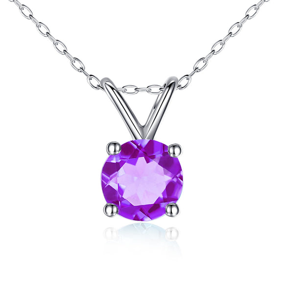 MABELLA 14K Solid White Gold 0.80 CTTW Round Cut 6mm Natural Genuine Gemstone Pendant Necklace