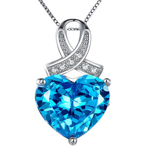 MABELLA 925 Sterling Silver Simulated Birthstone Gemstone Pendant Heart Necklace, Gifts for Women