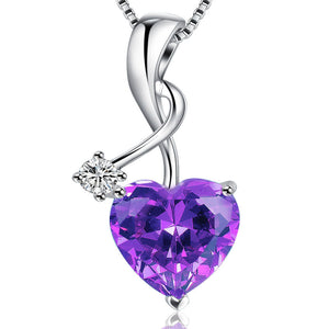 MABELLA Sterling Silver Jewelry 4.0 CTW Simulated Gemstone Pendant Heart Necklace, Gifts for Women