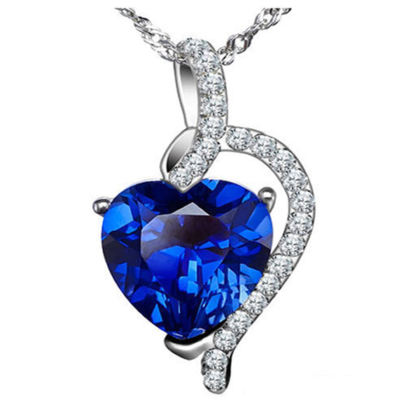MABELLA Sterling Silver Simulated Blue Sapphire Ruby Blue Topaz Heart Pendant Necklace Valentines Day Gifts for Women