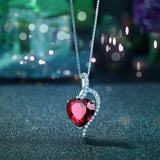 Sterling Silver Simulated Blue Sapphire Ruby Blue Topaz Heart Pendant Necklace Gifts for Women