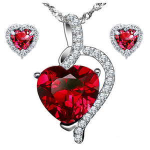 MABELLA Heart Cut Created Pendant Necklace & Earring Set Sterling Silver 18inch Chains