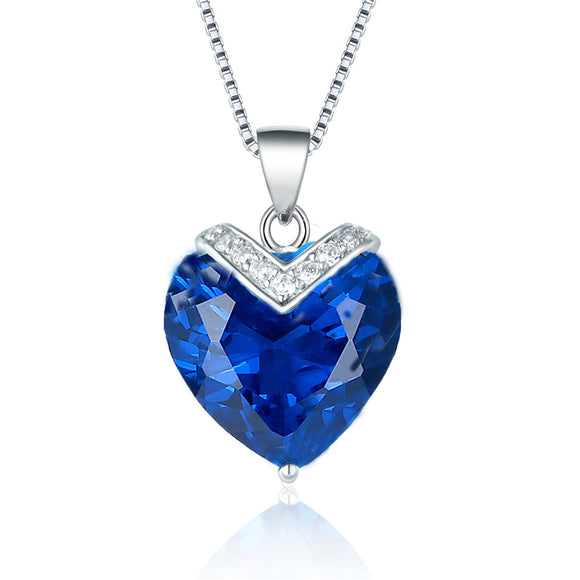 MABELLA Sterling Silver 10.78ct Created Blue Sapphire Heart Shaped Pendant Necklace, 18