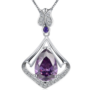 MABELLA Sterling Silver Flower Teardrop Simulated Amethyst/Simulated Blue Topaz Pendant Necklace