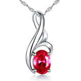 MABELLA Sterling Silver 0.75ct (7*5mm) Birthstone Oval Shape Pendant Necklace