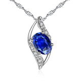 MABELLA Sterling Silver Birthstone Oval Cut Leaves Shape Pendant Necklace, Birthday Gifts for Women