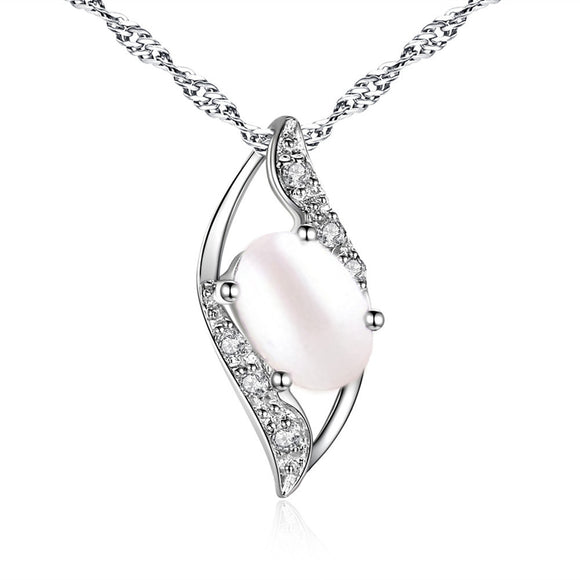 MABELLA Sterling Silver Simulated Pearl 0.75ct Oval Cut Leaves Shape Pendant Necklace,Gifts for Girl