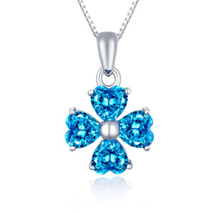 MABELLA 925 Sterling Silver Simulated Amethyst/Blue Topaz Heart Shape 4 Leaf Clover Pendant Necklace