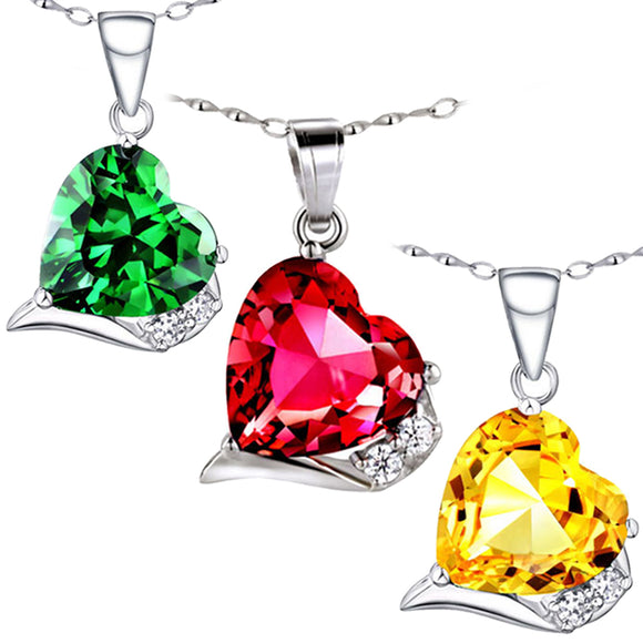 MABELLA Sterling Silver Heart 6.06 CTW Simulated Gemstone Pendant Necklace 18