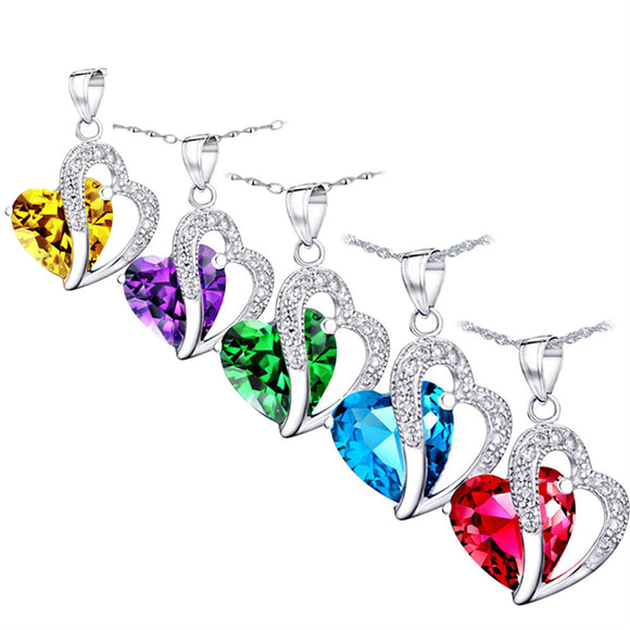 MABELLA Jewelry Simulated Gemstone Double Heart Pendant Sterling Silver Necklace for Women