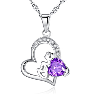 MABELLA Purple Heart Pendant Sterling Silver Simulated Amethyst Necklace, Christmas Gifts for Women