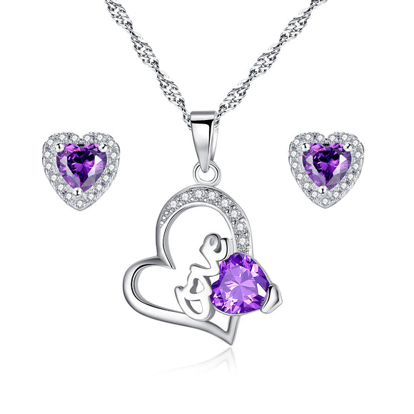 MABELLA 925 Sterling Silver Amethyst Jewelry Set Simulated February Birthstone Gifts for Women