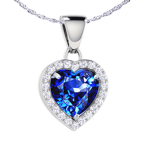 MABELLA Sterling Silver Heart 1.6 CTW Simulated Gemstone Pendant Necklace, Birthday Gifts for Women